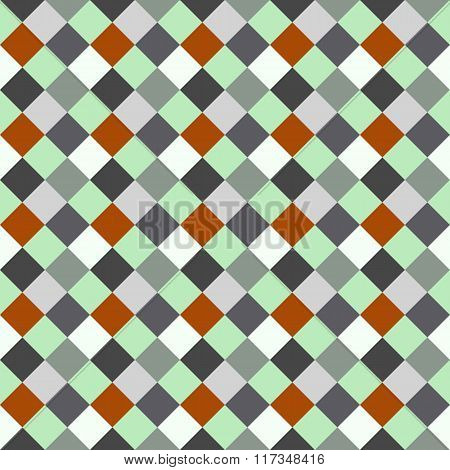 Seamless geometric checked pattern. Diagonal square, woven line background. Rhombus, patchwork textu
