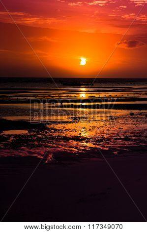 Burning Skies Setting Sun