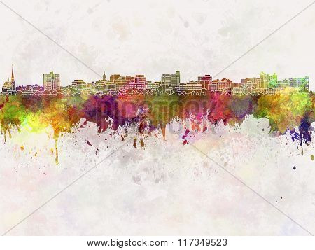 South Portland Skyline In Watercolor Background