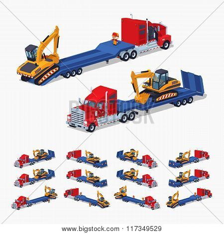 Red heavy truck with yellow excavator on the blue low-bed trailer