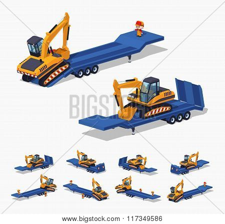 Yellow excavator on the blue low-bed trailer