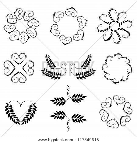 Laurel wreath, heart tattoo set. Wheats, swirl, circular view signs. Stylized unusual ornament. Vale
