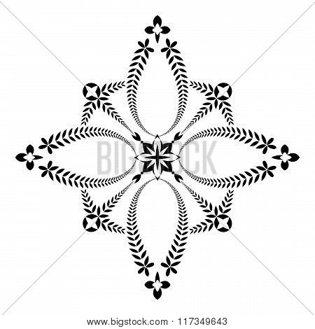 Laurel wreath tattoo. Unusual cross sign ornament. Black icon on white background. Defense, peace, g
