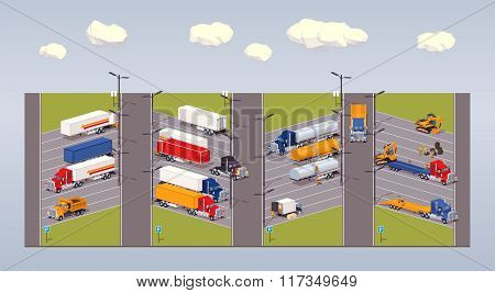 Heavy trucks parking lot
