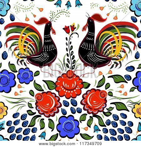 Seamless Folk Background.colorful Flowers And Leafs With Cocks On White Background.