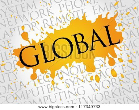 GLOBAL, Technology concept word cloud collage, presentation background