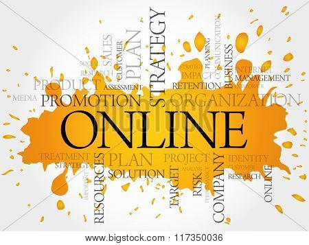 ONLINE word cloud business concept, presentation background