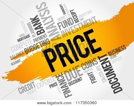 PRICE word cloud business concept, presentation background