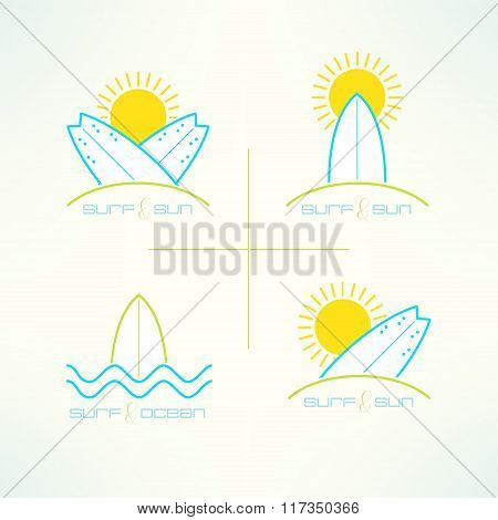 Set of vector surfing company labels logo made in modern clean and bright design. Surfboarding tshir