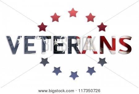 Word Veterans and stars around in American flag colors isolated on white
