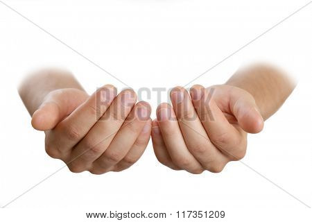 Empty male hands, isolated on white