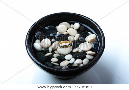 Golden Wedding Ring With Clipping Path
