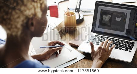 African Woman Working Design Creative Concept