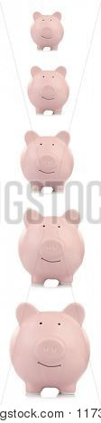 Collage of pink ceramic piggy banks isolated on white