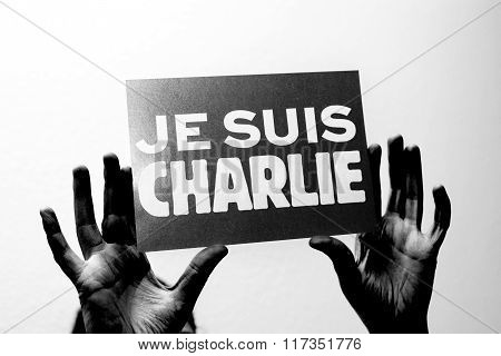 Je Suis Charlie In French Language In Black Hands