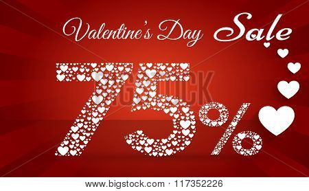 Valentine`s Day Sale, 75  Percent Discount Made Of Little Hearts. Vector