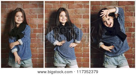Collage of little fashion kid girl on bricks wall background
