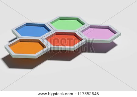 Five Colorful Three-dimensional Hexagons