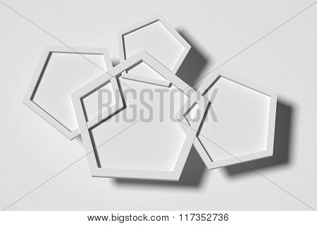 Three-dimensional White Pentagons Casting Shadow