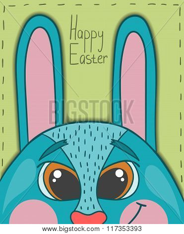 Happy Easter Card With Smile Rabbit