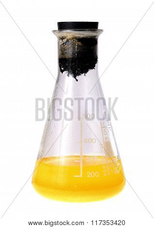 Laboratory Flask With Yellow Liquid