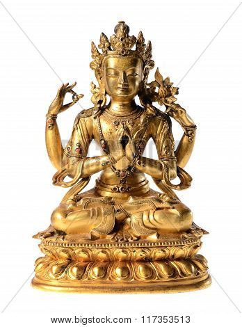 Golden buddha statue close-up isolated over white