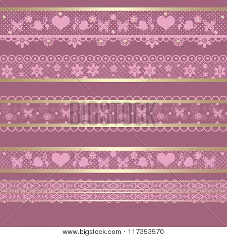 Seamless Lace Lacy Ribbon Pattern Washi Tapes On Retro Background Texture
