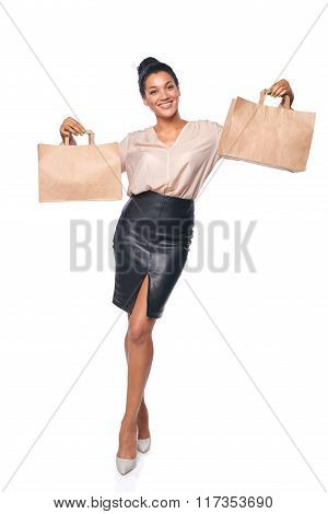 Woman showing shopping bag