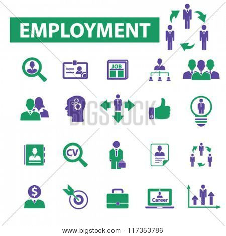 employment, career, human resources, job, cv icons set