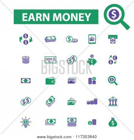 earn money, money payment, icons, online money, cash icons, signs vector concept set for infographics, mobile, website, application