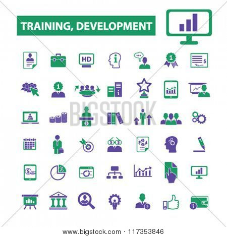training development, business training, icons, signs vector concept set for infographics, mobile, website, application