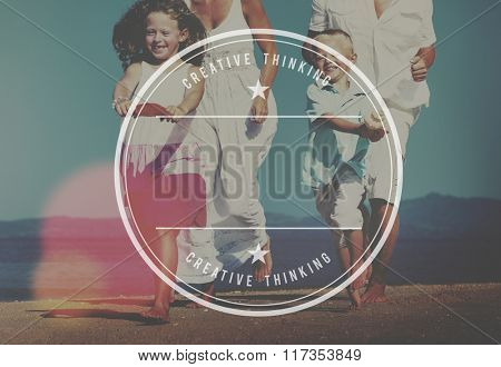 Family Running Playful Vacation Beach Badge Concept