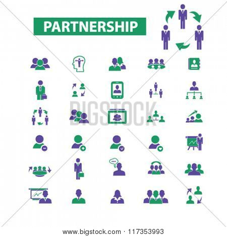 partnership icon, partnership business, partner, team, management, community, icons set