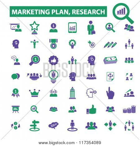 marketing plan, marketing research, market icons, signs vector concept set for infographics, mobile, website, application