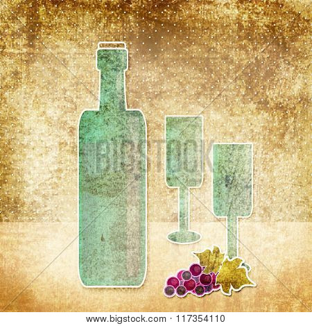 Bottle Of Wine, Wineglass And Grape Vintage Retro Grunge Background
