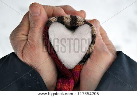 Heart Of Snow In Hands