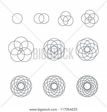 Round Contour Various Sacred Geometry Set.