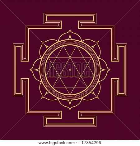 Monocrome Outline Durga Yantra Illustration.
