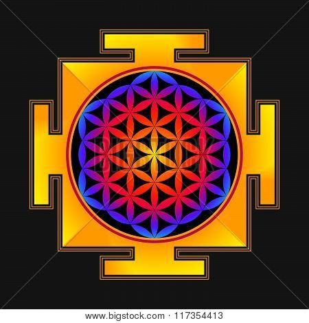 Colored Flower Of Life Yantra Illustration.