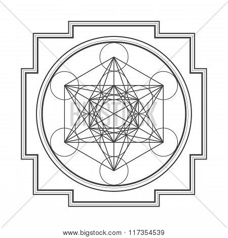 Monocrome Outline Metatron Cube Yantra Illustration.