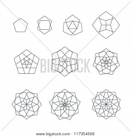 Pentagon Contour Various Sacred Geometry Set.