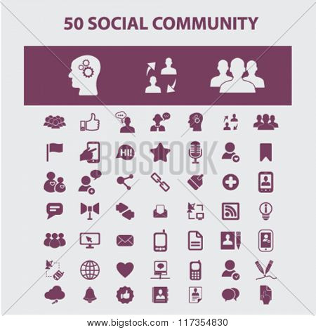 Social media icons, social community, blog icon, community, social concept, social network, user, avatar  icons, signs vector concept set for infographics, mobile, website, application