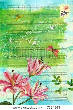 Vintage Style Collage With Sheet Music, Lily And Butterflies