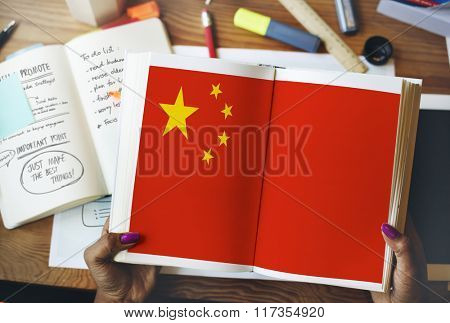 China National Flag Studying Reading Book Concept