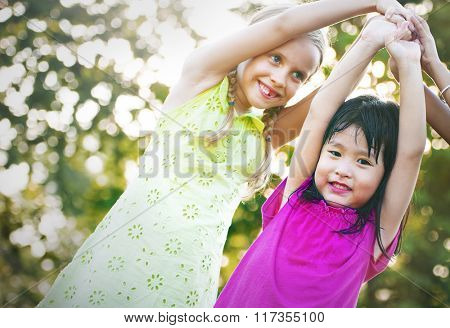 Girls Children Friends Smiling Happiness Concept