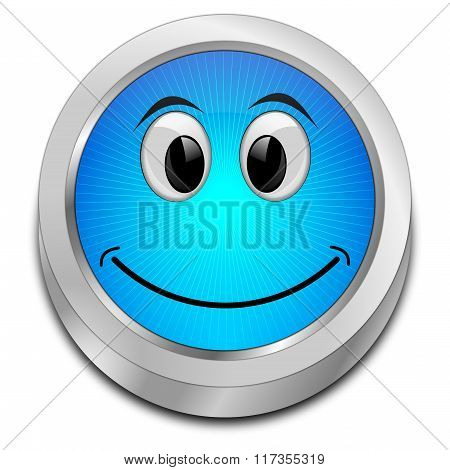 Button with smiling face
