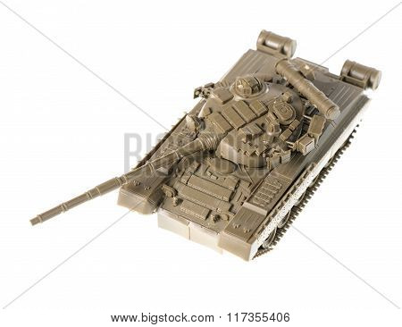 Scale Model Of Soviet T-80 Tank isolated on white