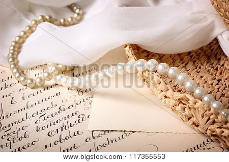 Vintage Scene. Old Letter With Some Jewelry
