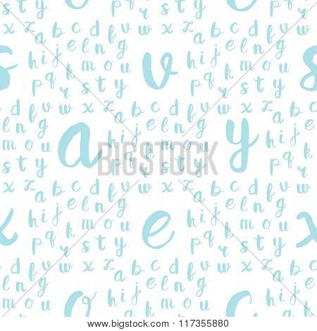 Seamless pattern with blue alphabet letters on white background. Vector illustration for web, textile, scrapbooking and other design projects.