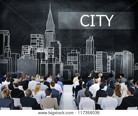 Business People City Graphic Seminar Concept